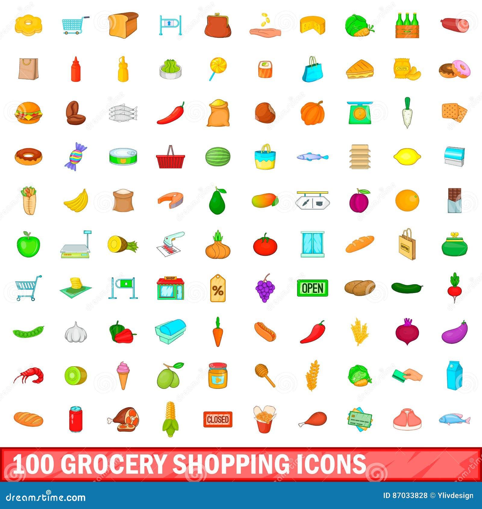 100 iconos fijados, estilo de las compras de la historieta