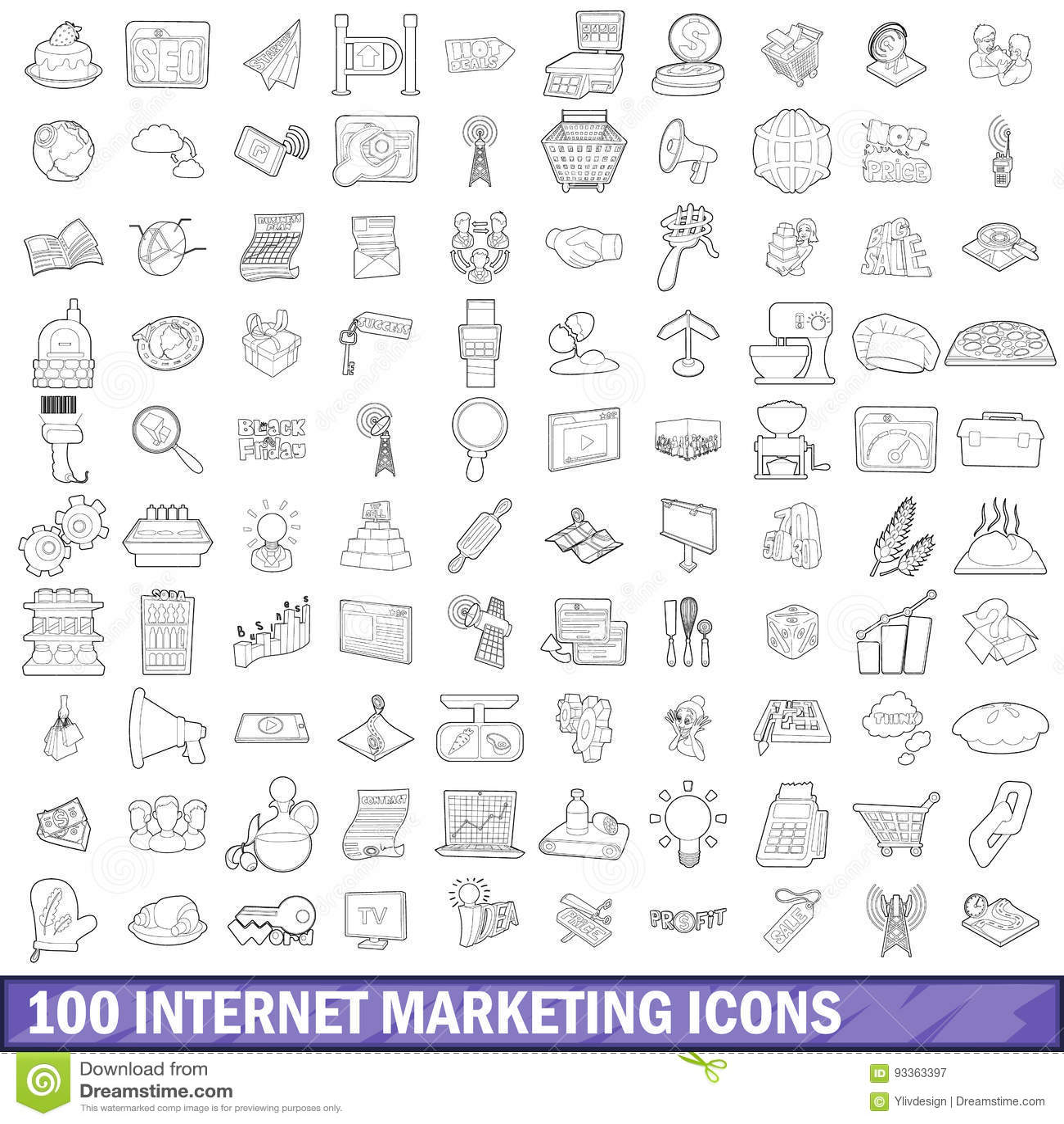 100 iconos fijados, estilo del márketing de Internet del esquema