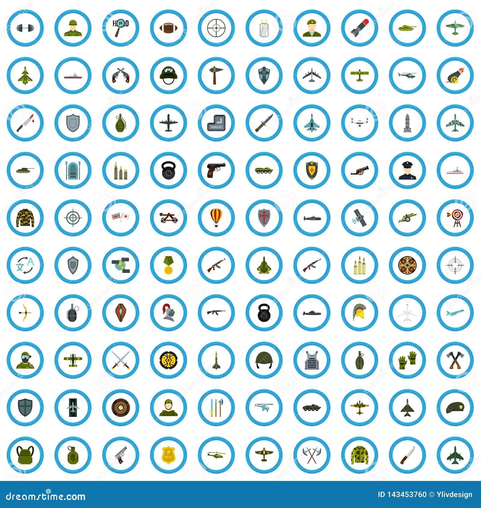 100 iconos fijados, estilo plano del oficial