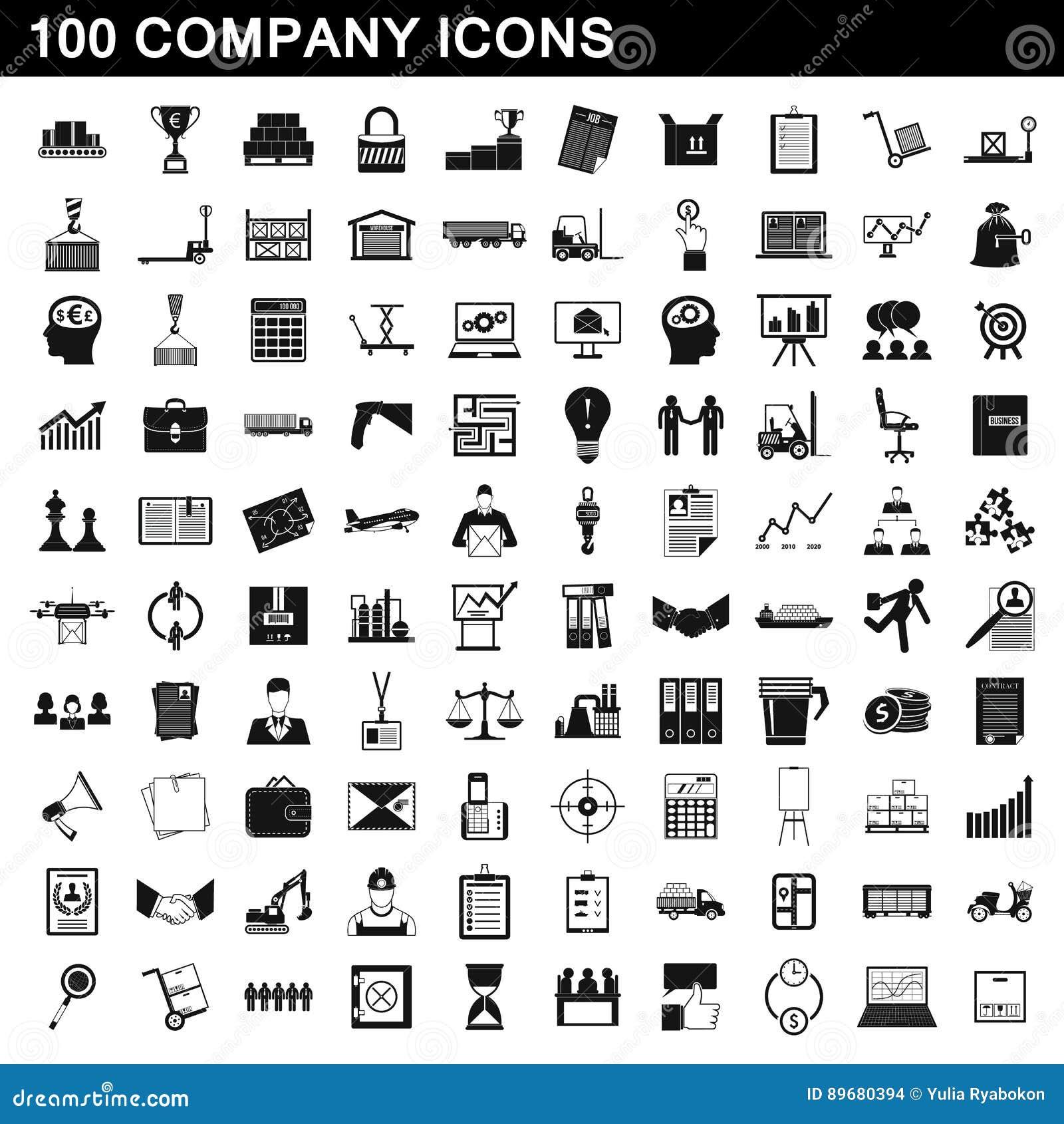 100 iconos fijados, estilo simple de la compañía