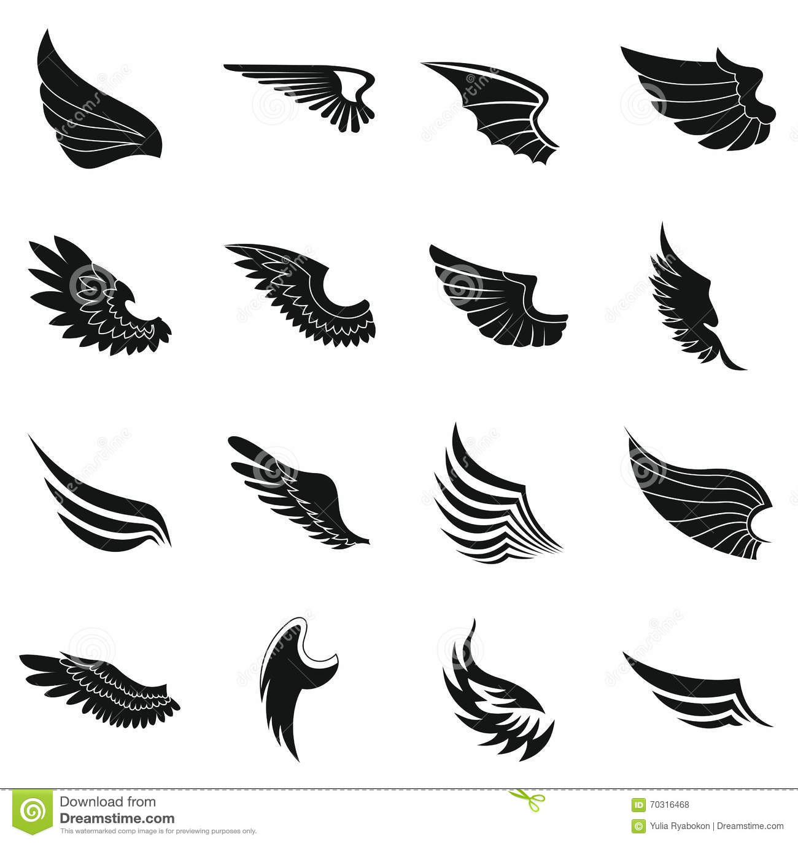 Iconos fijados, estilo simple negro de las alas