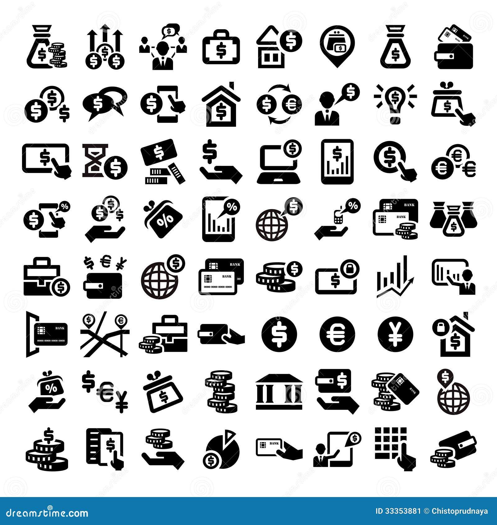 Iconos grandes de las finanzas fijados