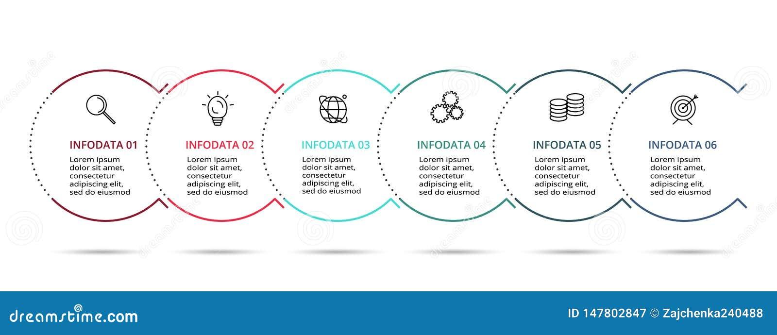 Iconos infographic lineares del vector y del márketing del diseño para el diagrama, el gráfico, la presentación y la carta Concep
