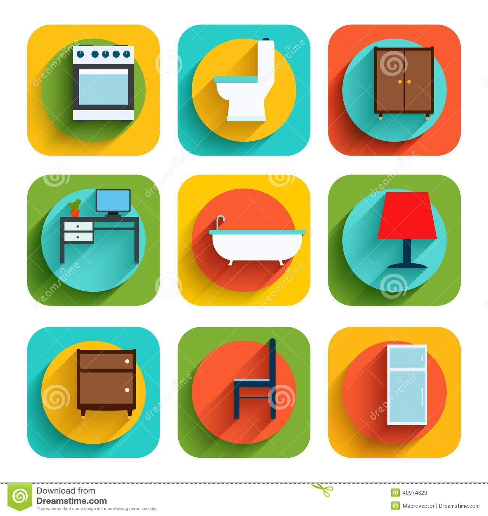 Iconos interiores de los muebles de la casa ilustraci n for Muebles de la casa