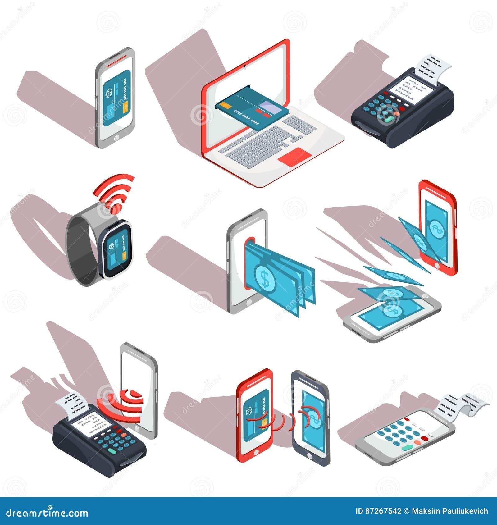 Iconos isométricos de los teléfonos móviles, ordenador portátil, relojes que muestran la facilidad y la conveniencia de pagos en