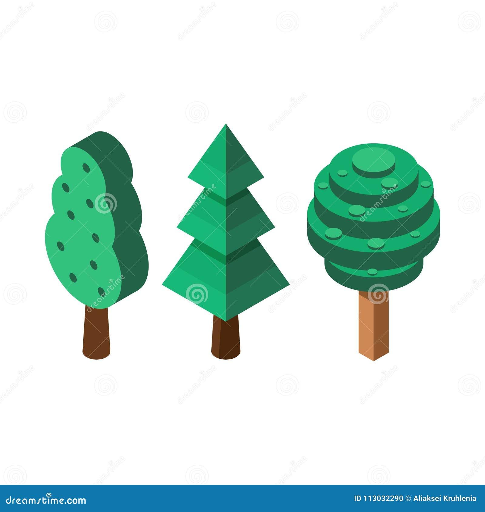 Iconos isométricos del árbol
