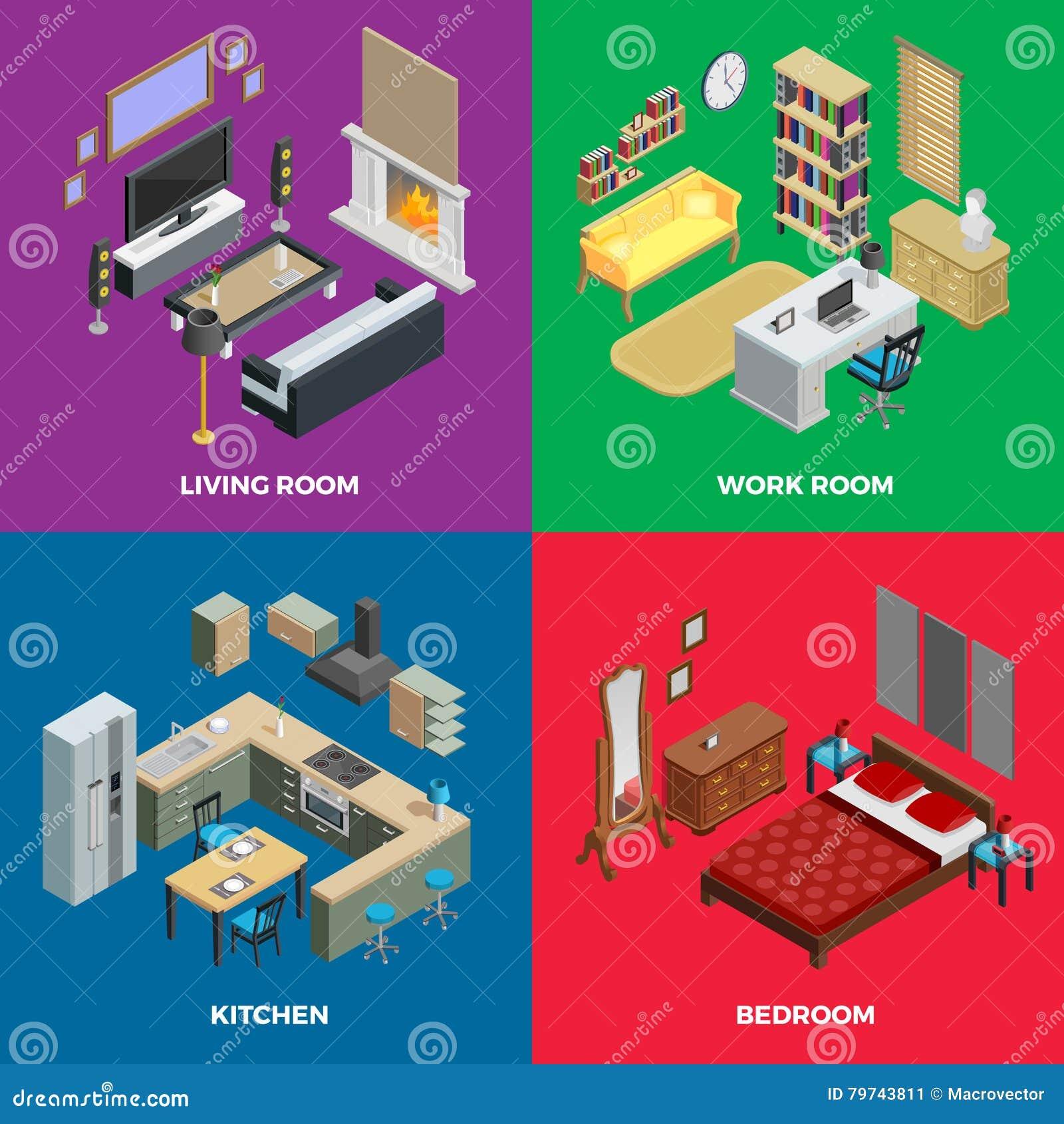 Iconos isométricos interiores del concepto fijados