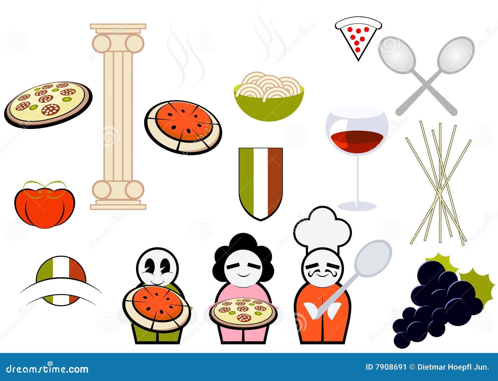 Iconos italianos del alimento y el cocinar