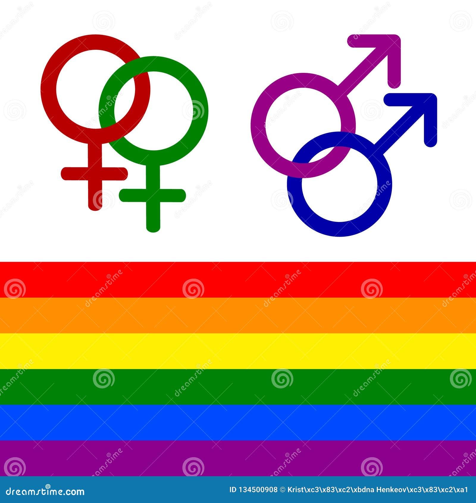 Iconos lesbianos, homosexuales, bisexuales, y del transexual coloridos LGBT de las derechas Mujeres y símbolo de la homosexualida