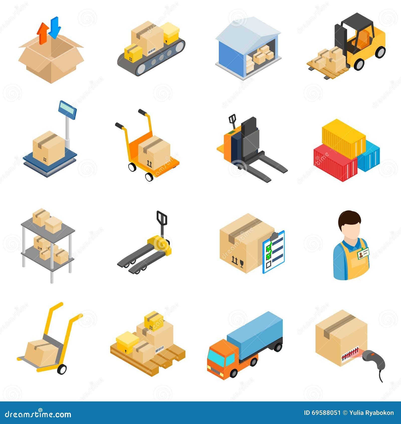 Iconos logísticos del almacenamiento de Warehouse fijados