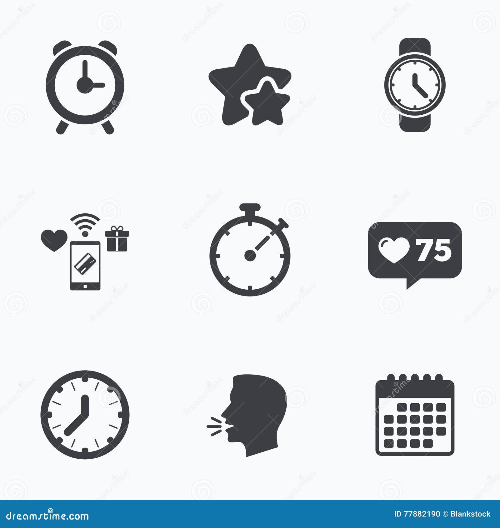 Iconos Mecánicos Del Tiempo De Reloj Contador De Tiempo Del Cronómetro Ilustración del Vector