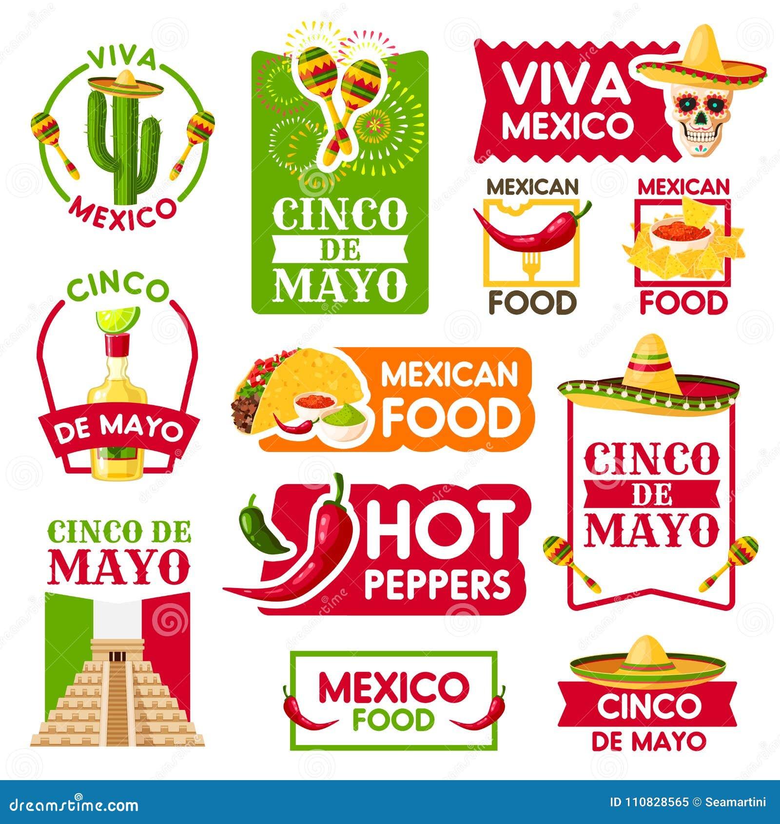 Iconos de Cinco de Mayo para la celebración mexicana de la festividad  nacional El vector aisló el sistema de pirámide azteca de México 2c596040d10