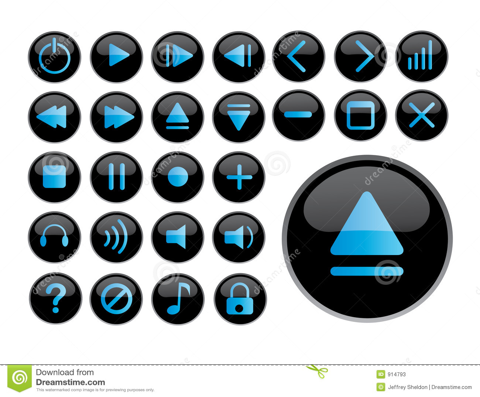 Iconos negros brillantes