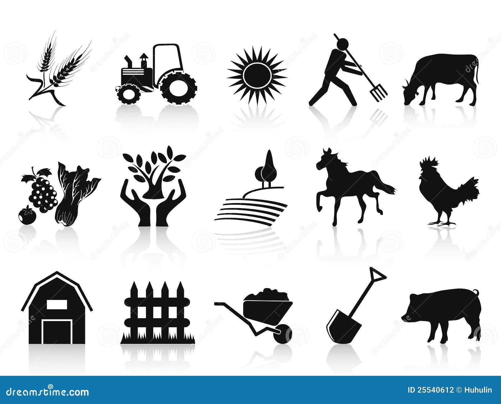 Iconos Negros De La Granja Y De La Agricultura Fijados