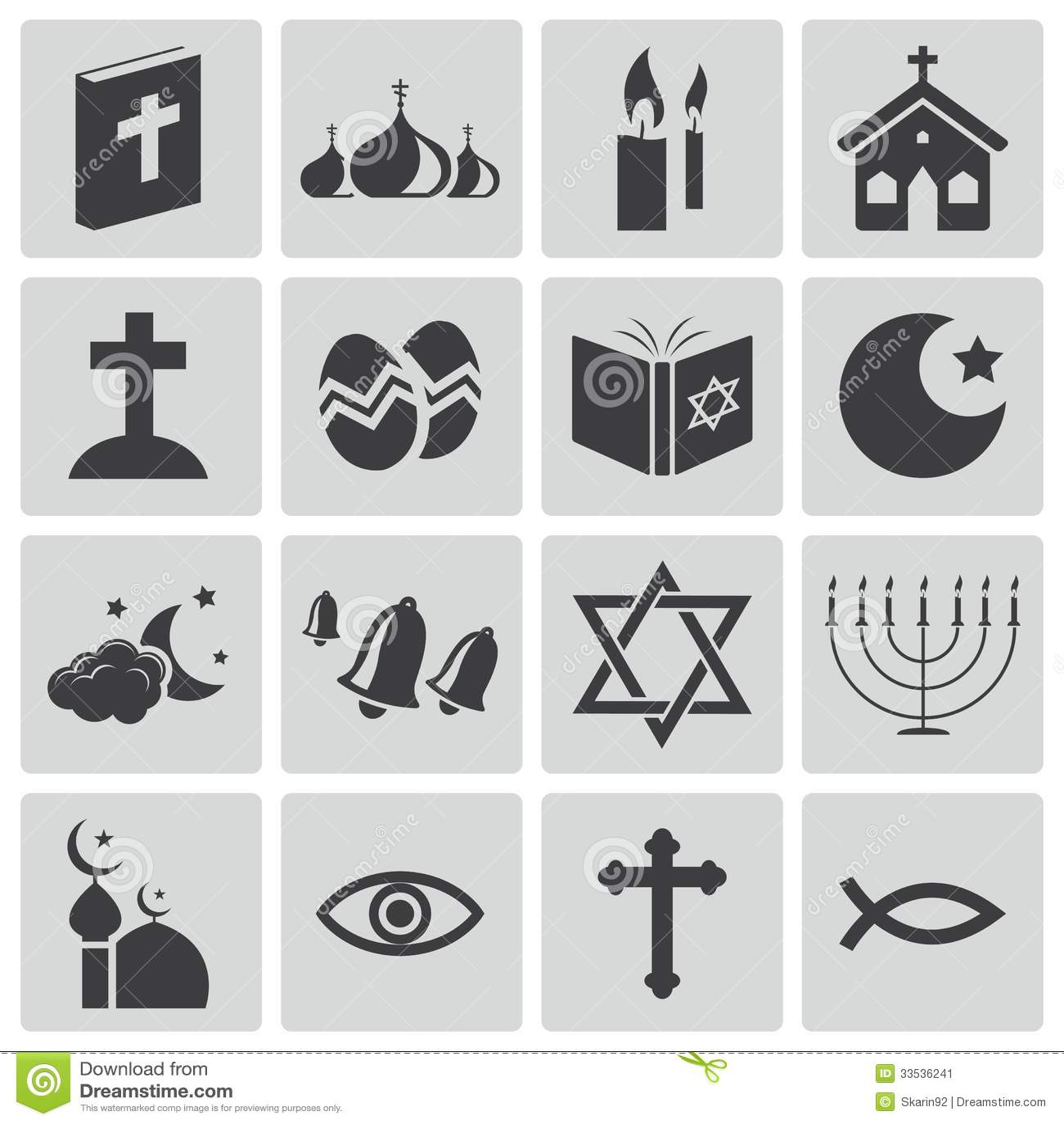 Iconos negros de la religión del vector