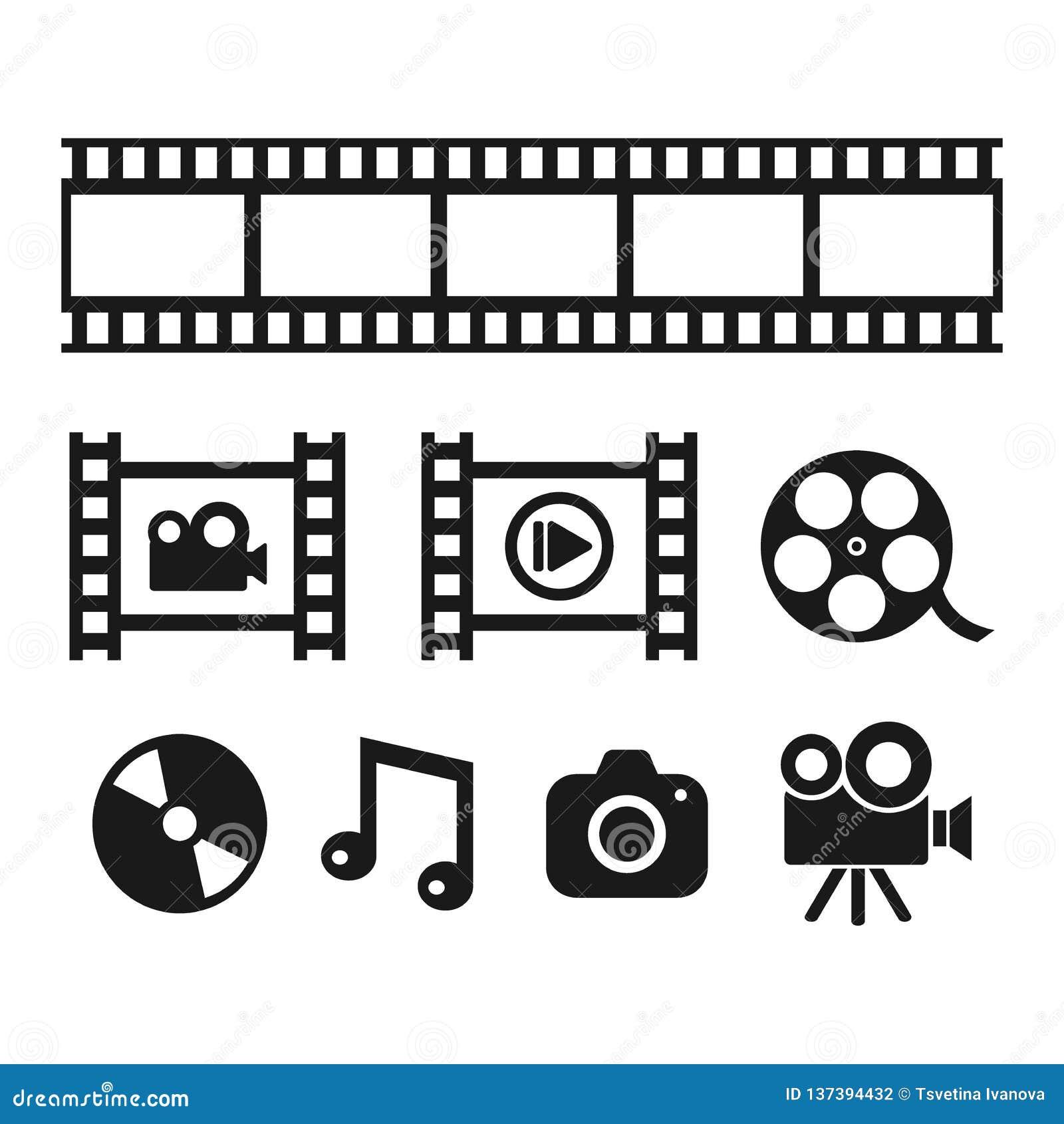 Iconos negros del vector de las multimedias, de la cinematografía y del entretenimiento