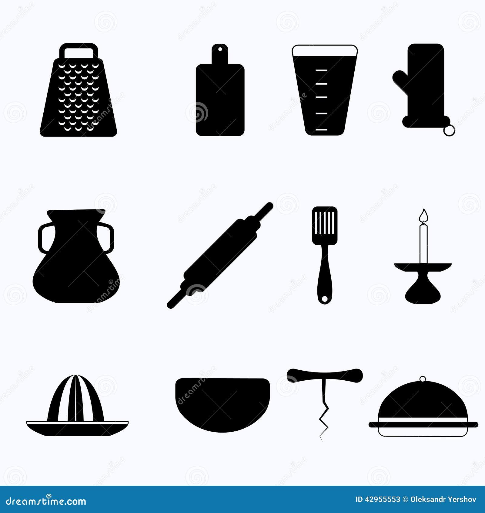 Iconos negros para el art culos de cocina ilustraci n del for Remates articulos de cocina