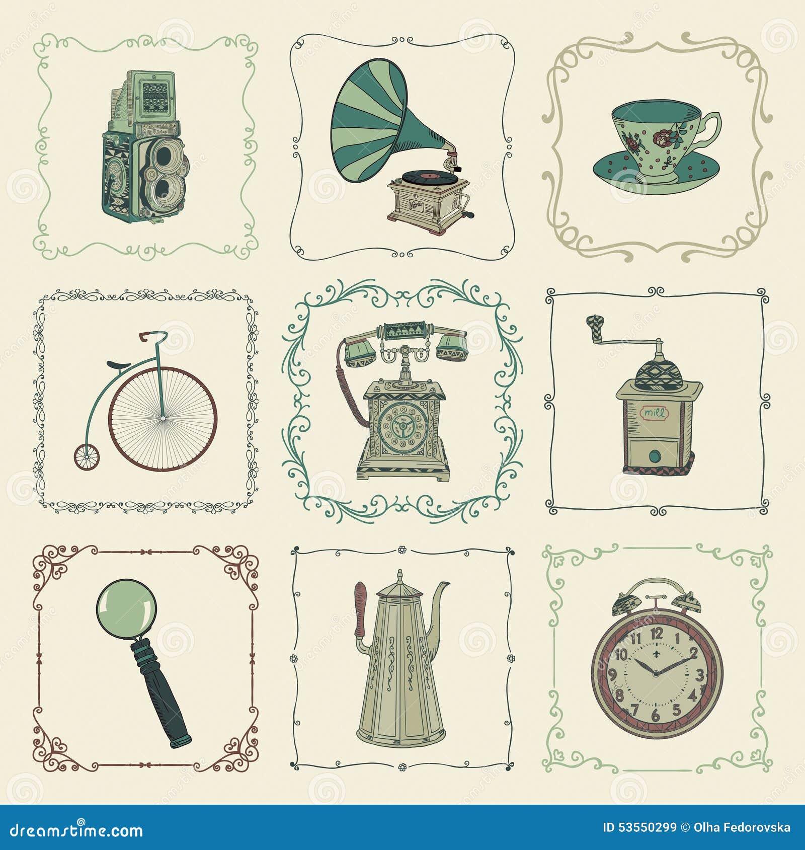 Iconos objetos y marcos coloridos del vintage del vector ilustraci n del vector imagen 53550299 - Objetos vintage ...