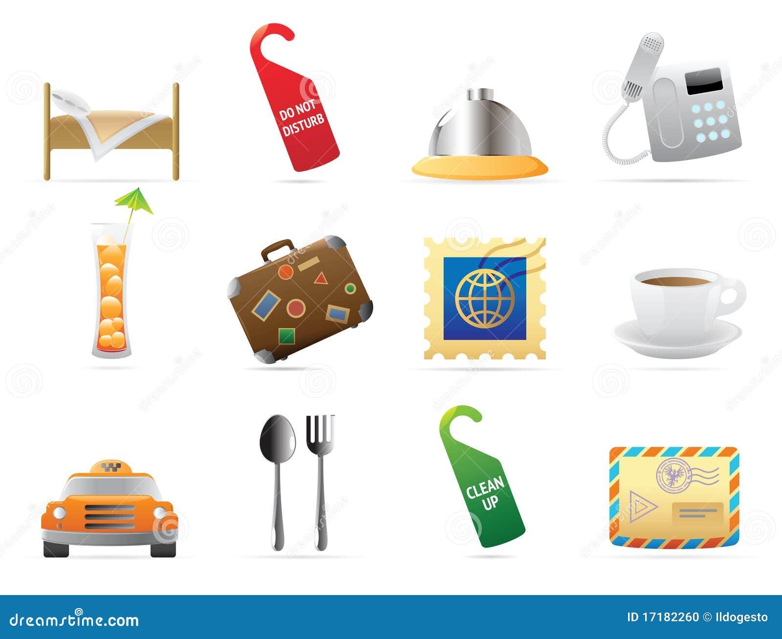 Iconos para el hotel y los servicios foto de archivo for Tipos de servicios de un hotel