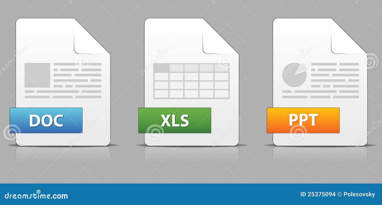 Iconos para las extensiones de fichero de la oficina