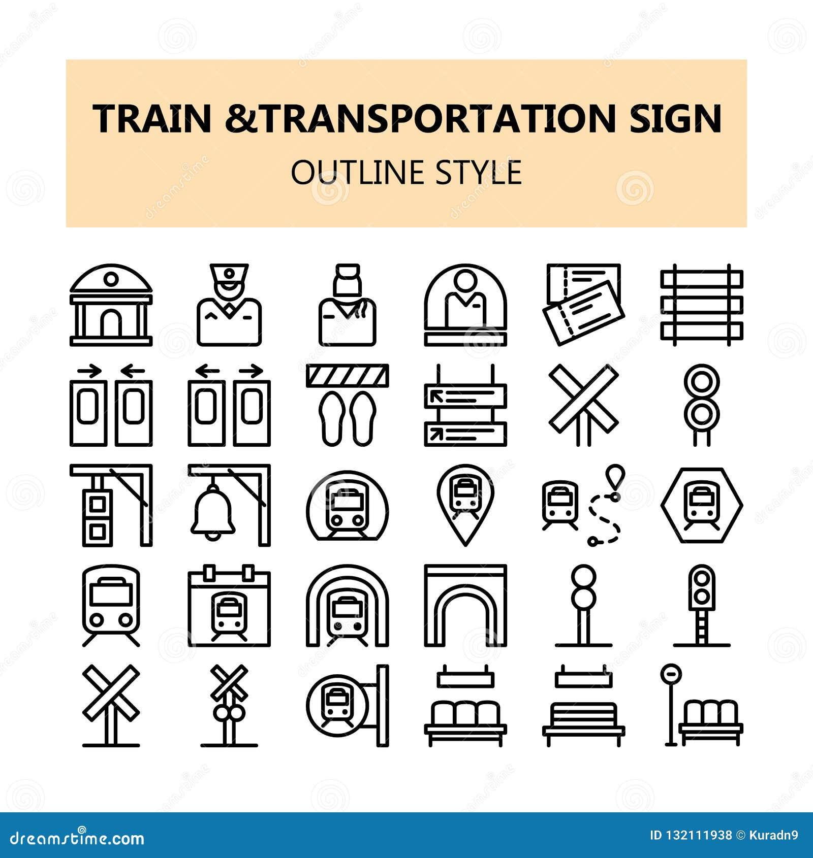 Iconos perfectos del pixel de la muestra del transporte del tren fijados en estilo del esquema