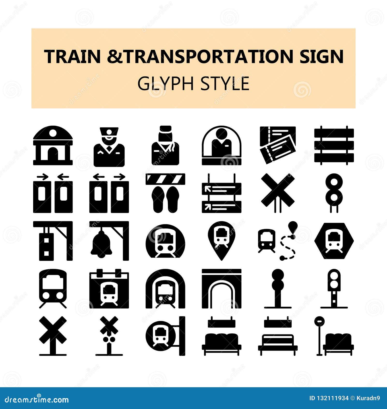 Iconos perfectos del pixel de la muestra del transporte del tren fijados en estilo del sólido y del esquema