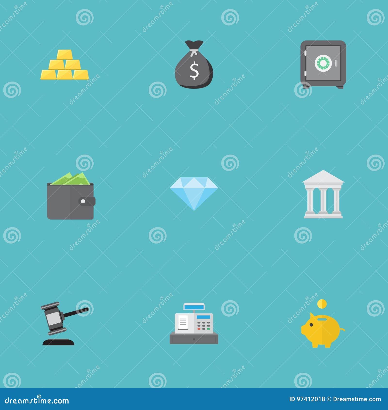 Iconos planos caja fuerte, banco, veredicto y otros elementos del vector El sistema de depositar símbolos planos de los iconos ta