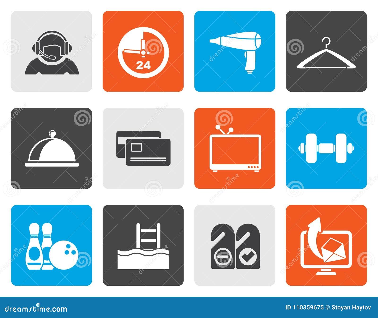 Iconos planos de la amenidad del hotel y del motel