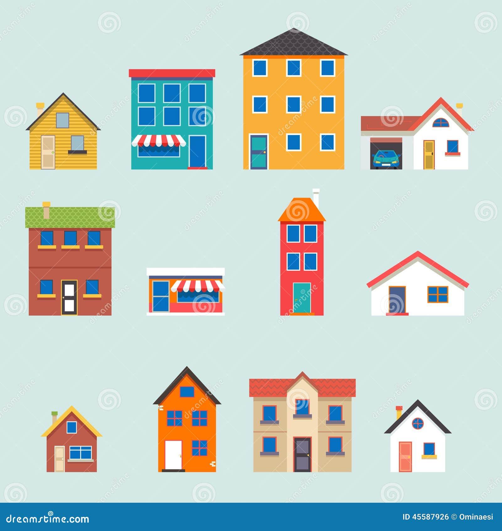 Iconos planos de la calle retra de moda moderna de la casa fijados