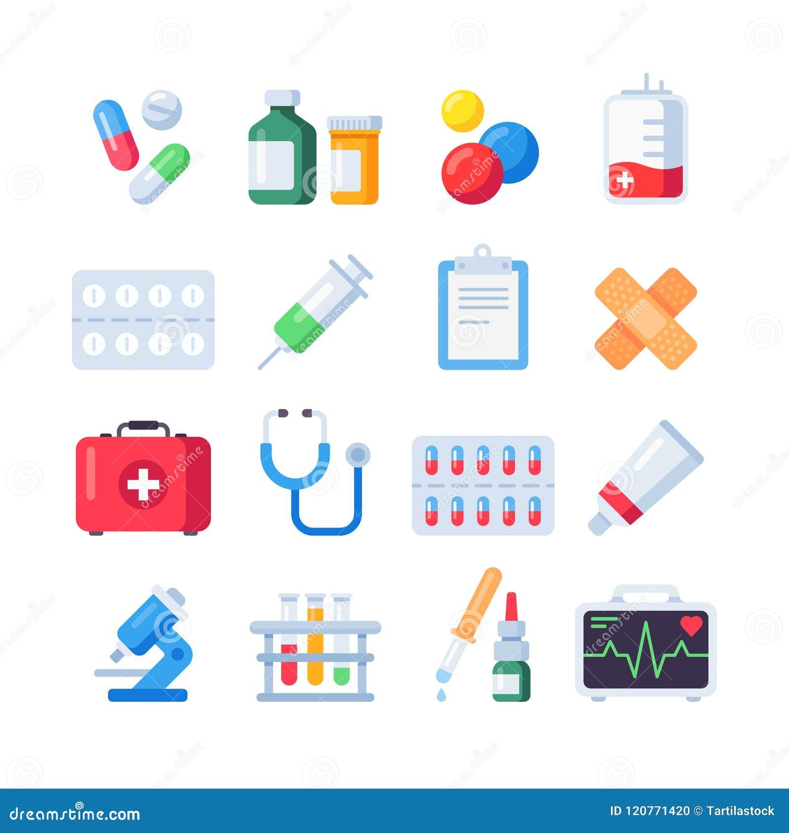 Iconos planos de la píldora Dosis de la medicación de la droga para el tratamiento Botella y píldoras de la medicina en sistema d