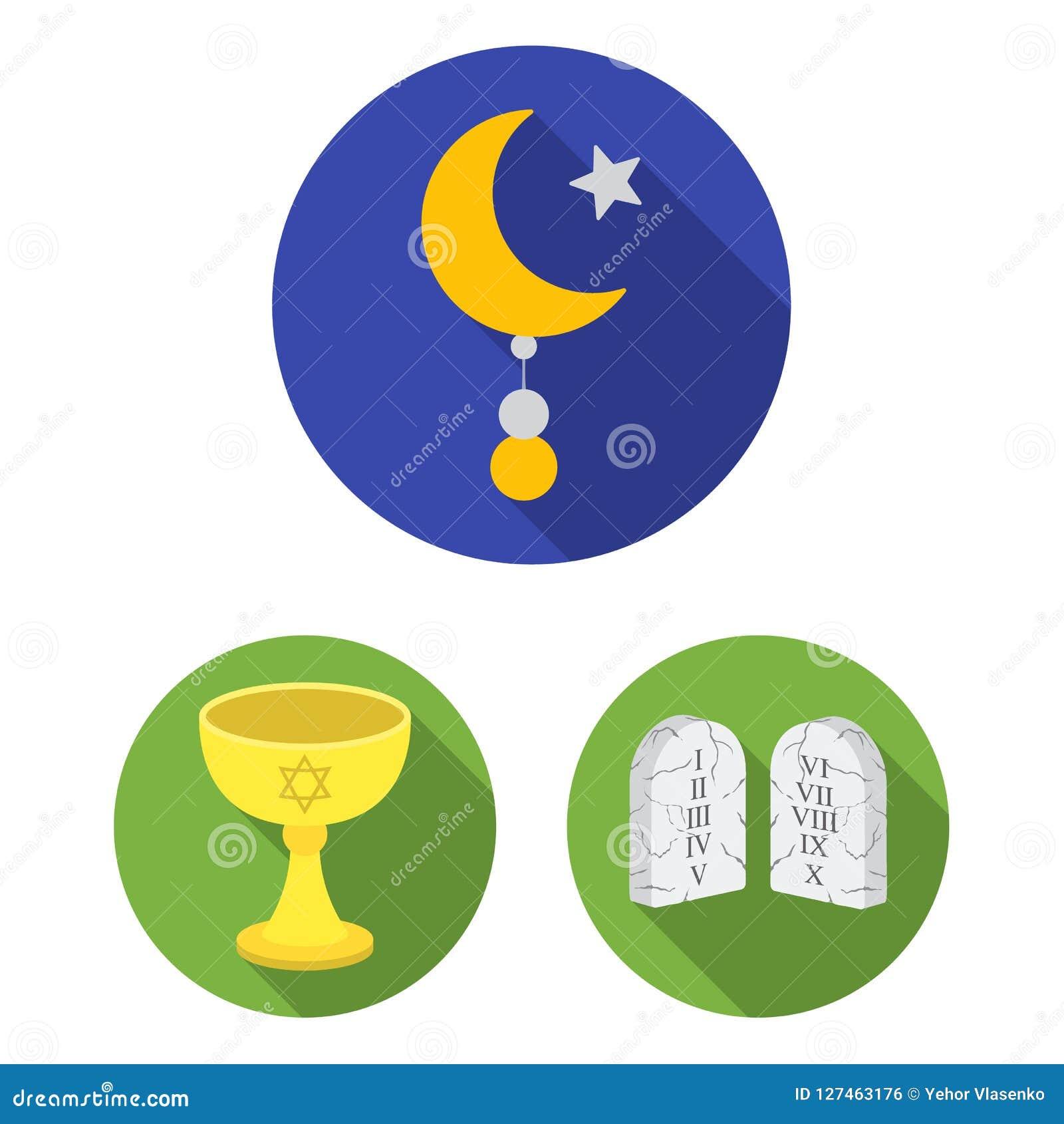 Iconos planos de la religión y de la creencia en la colección del sistema para el diseño Accesorios, ejemplo del web de la acción