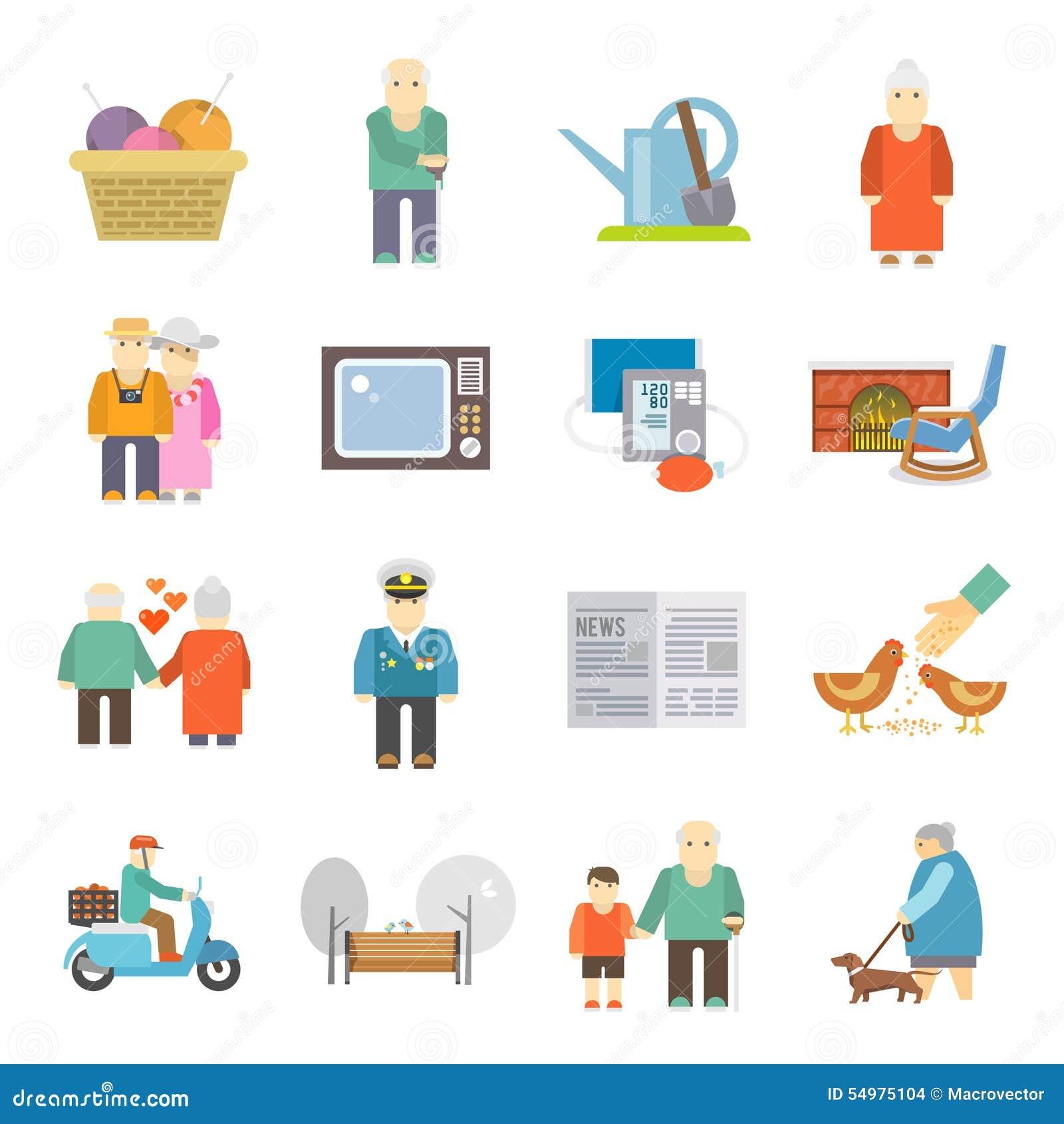 Iconos planos de la vida de los pensionistas fijados