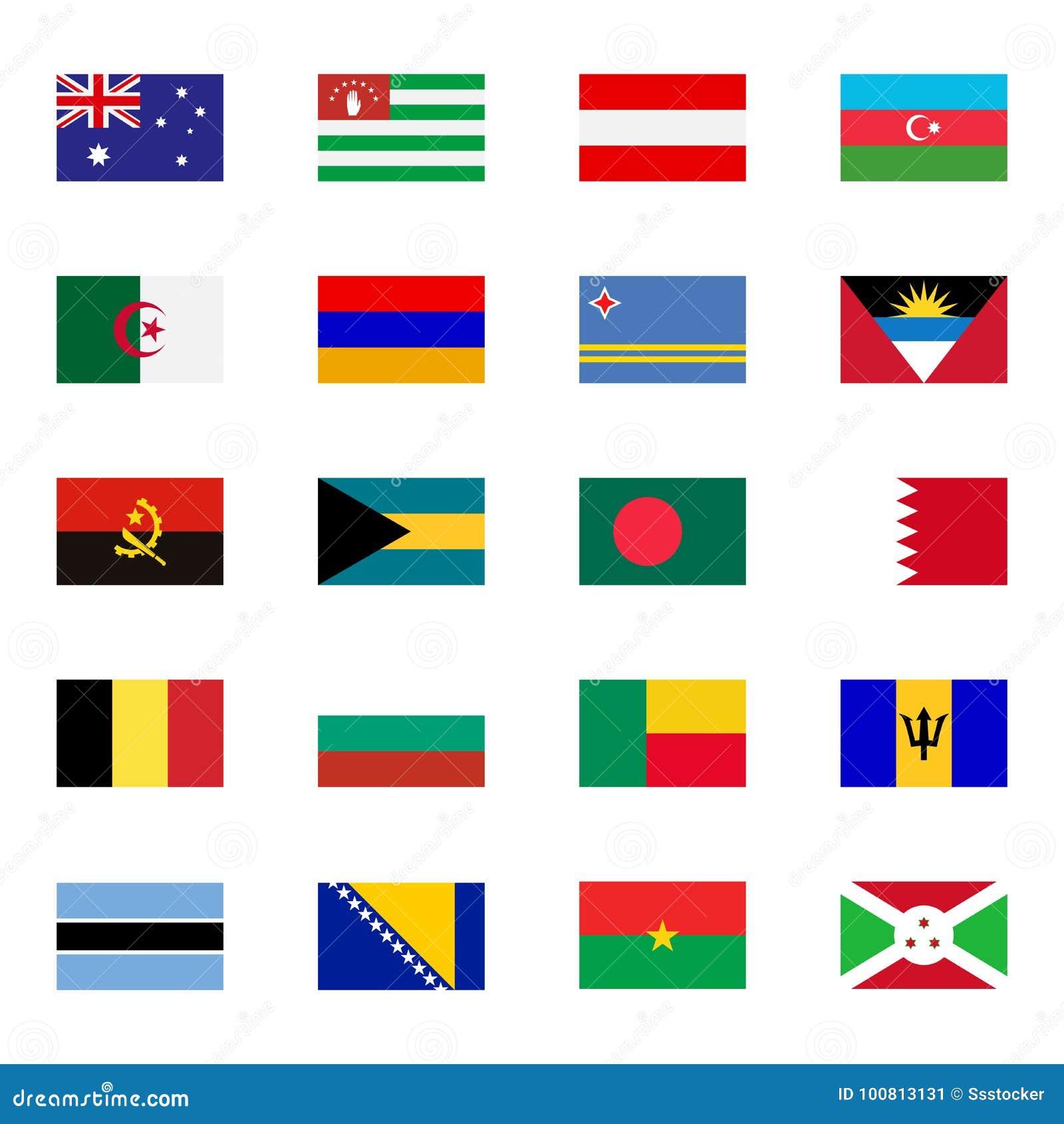Iconos planos de las banderas del mundo fijados