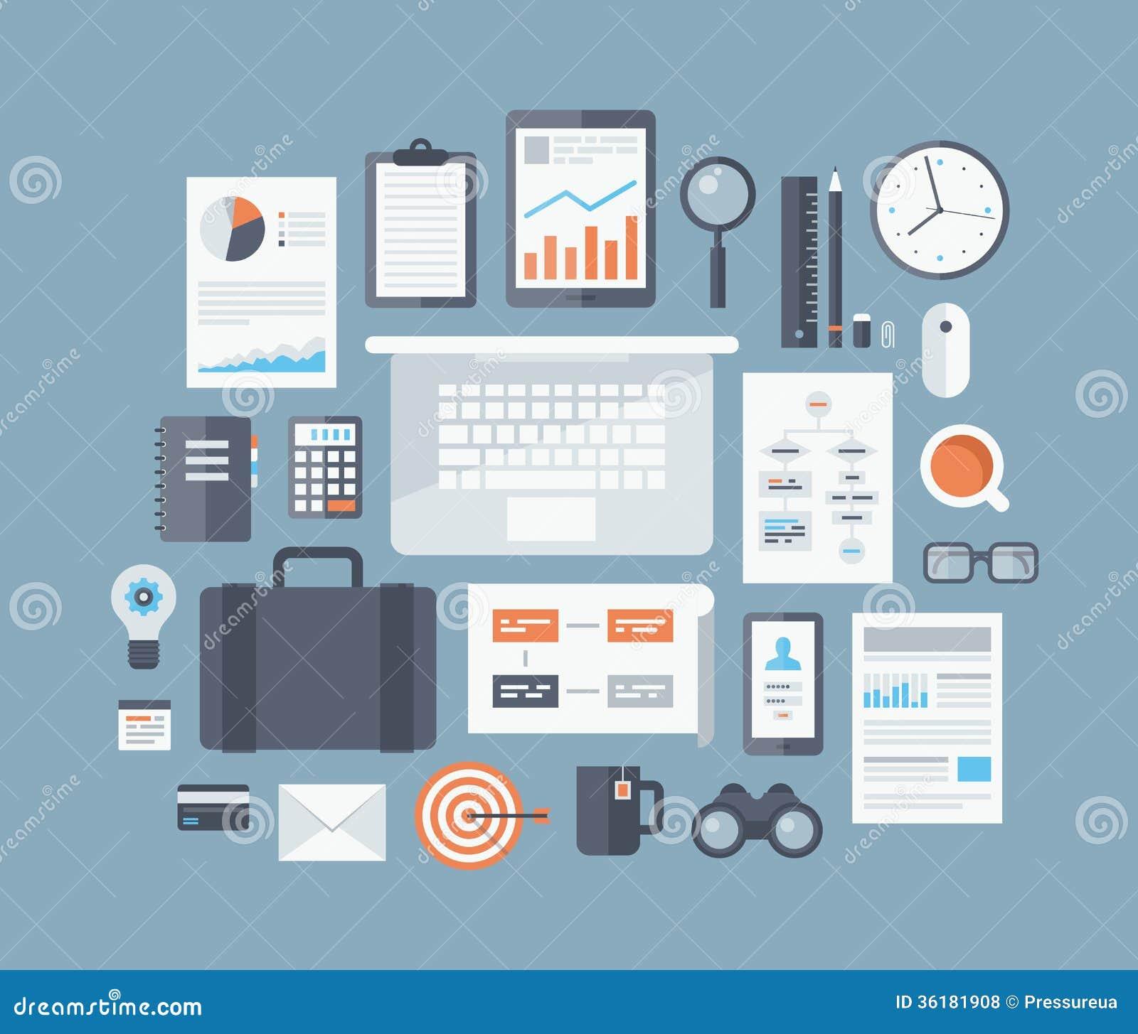 Iconos planos de los artículos del negocio fijados