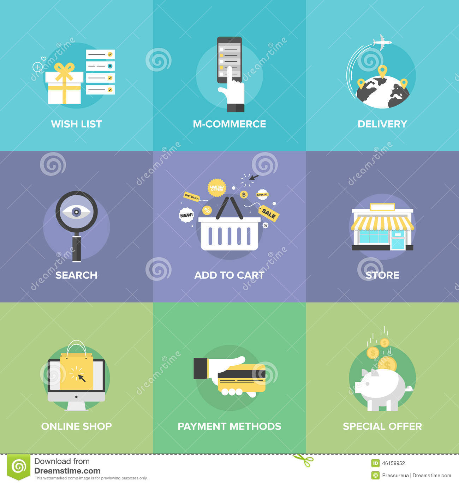 Iconos planos de los elementos en línea de las compras