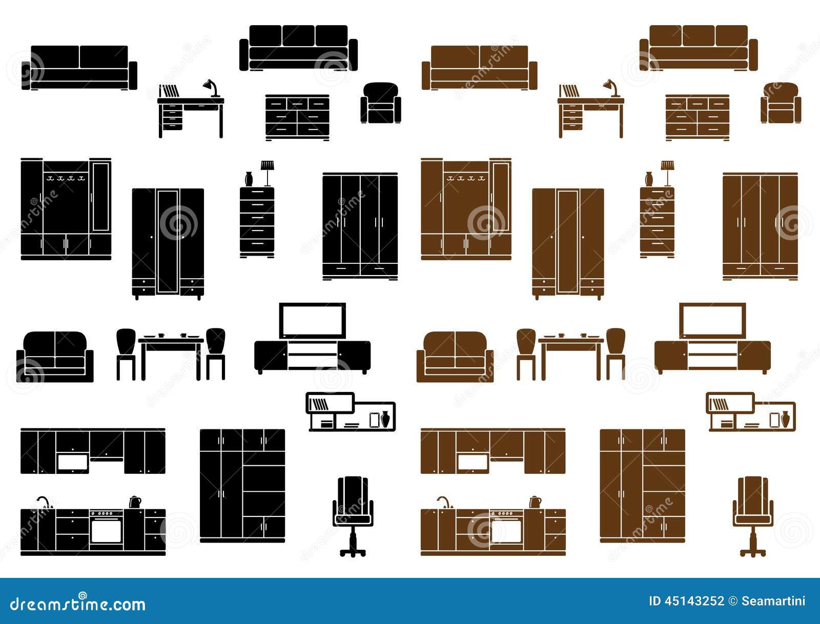 Iconos planos de los muebles fijados ilustraci n del for Muebles de cocina planos pdf