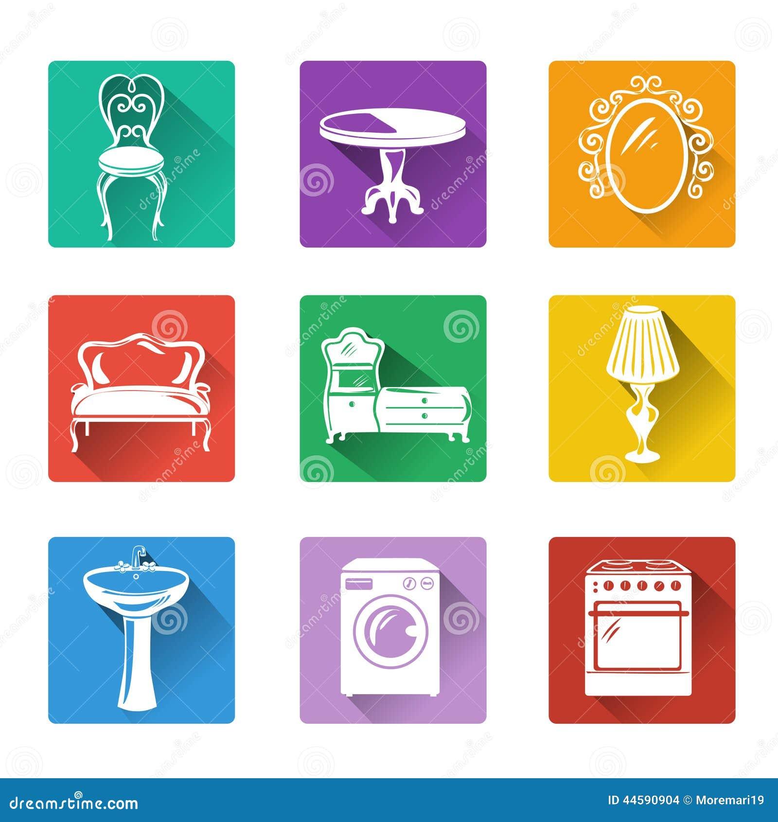 Iconos planos de los muebles y del equipo para el hogar for Furniture y equipment
