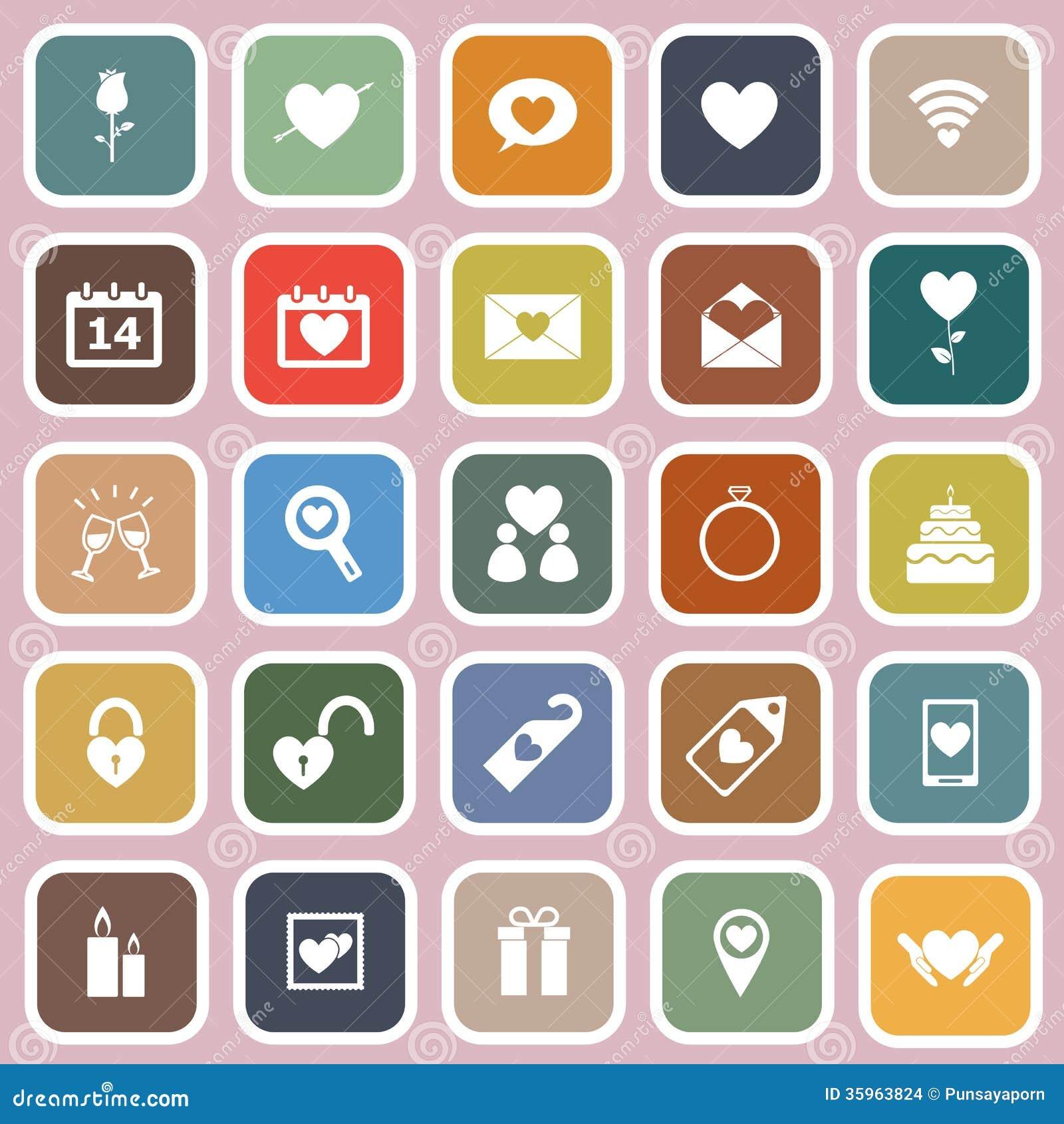 Iconos planos del día de tarjetas del día de San Valentín en fondo rosado