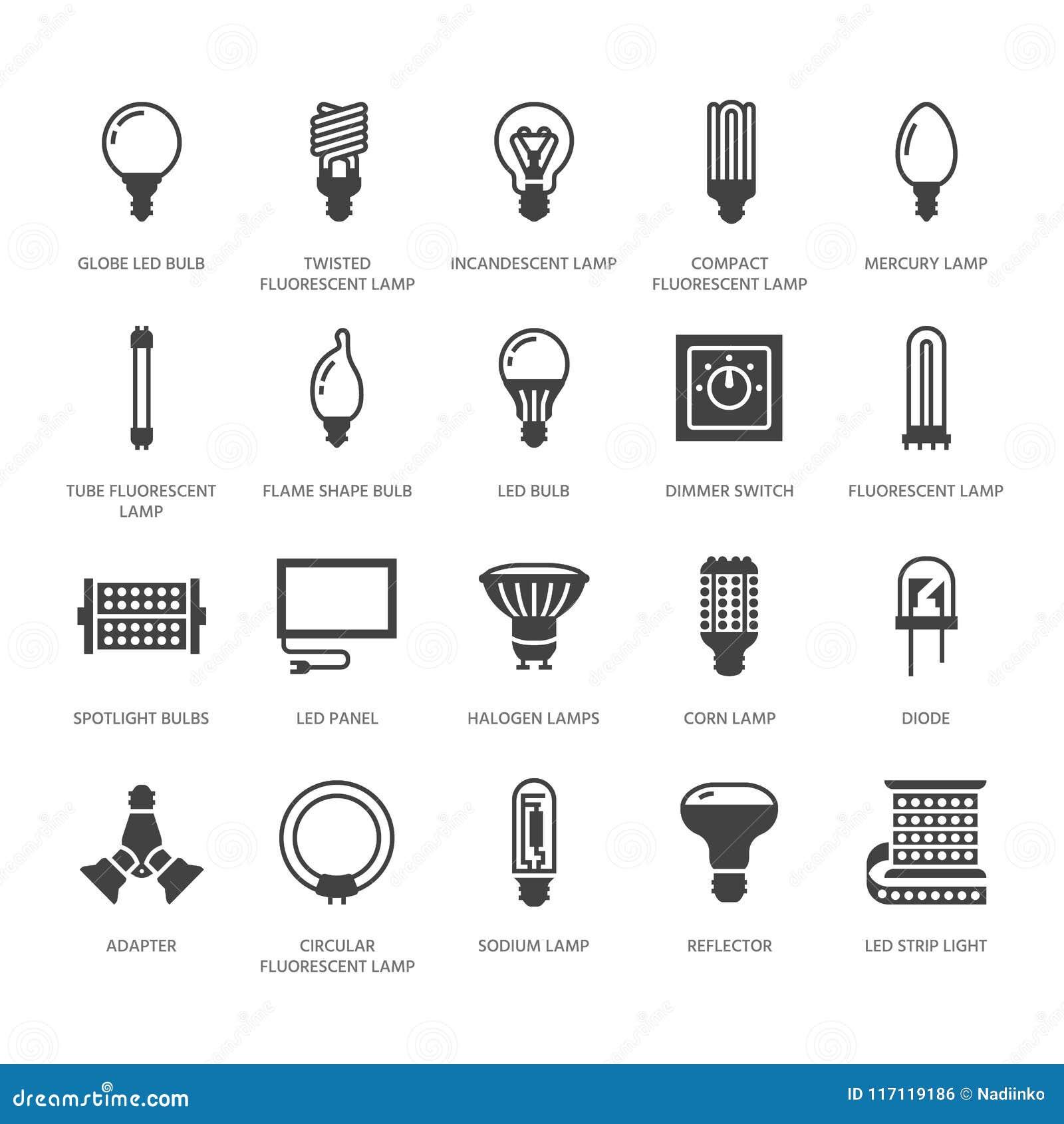 Iconos Del Las Bombillas Glyph Las Planos De Tipos De 54LAR3cjqS