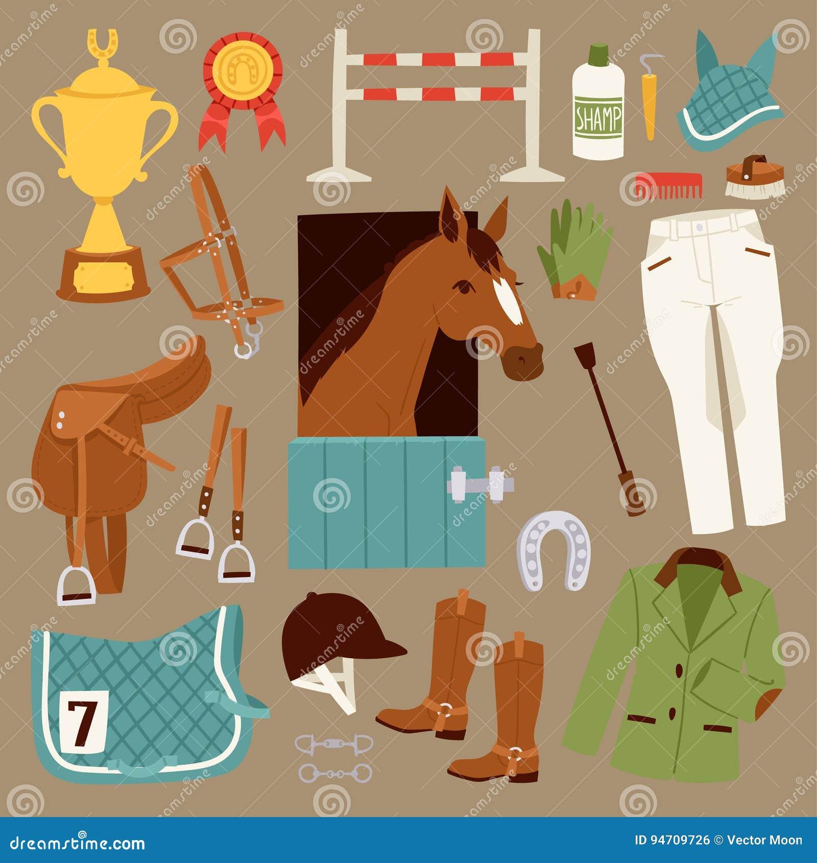 Iconos planos del jinete del color fijados con el equipo para el semental aislado y de herradura del montar a caballo de la silla