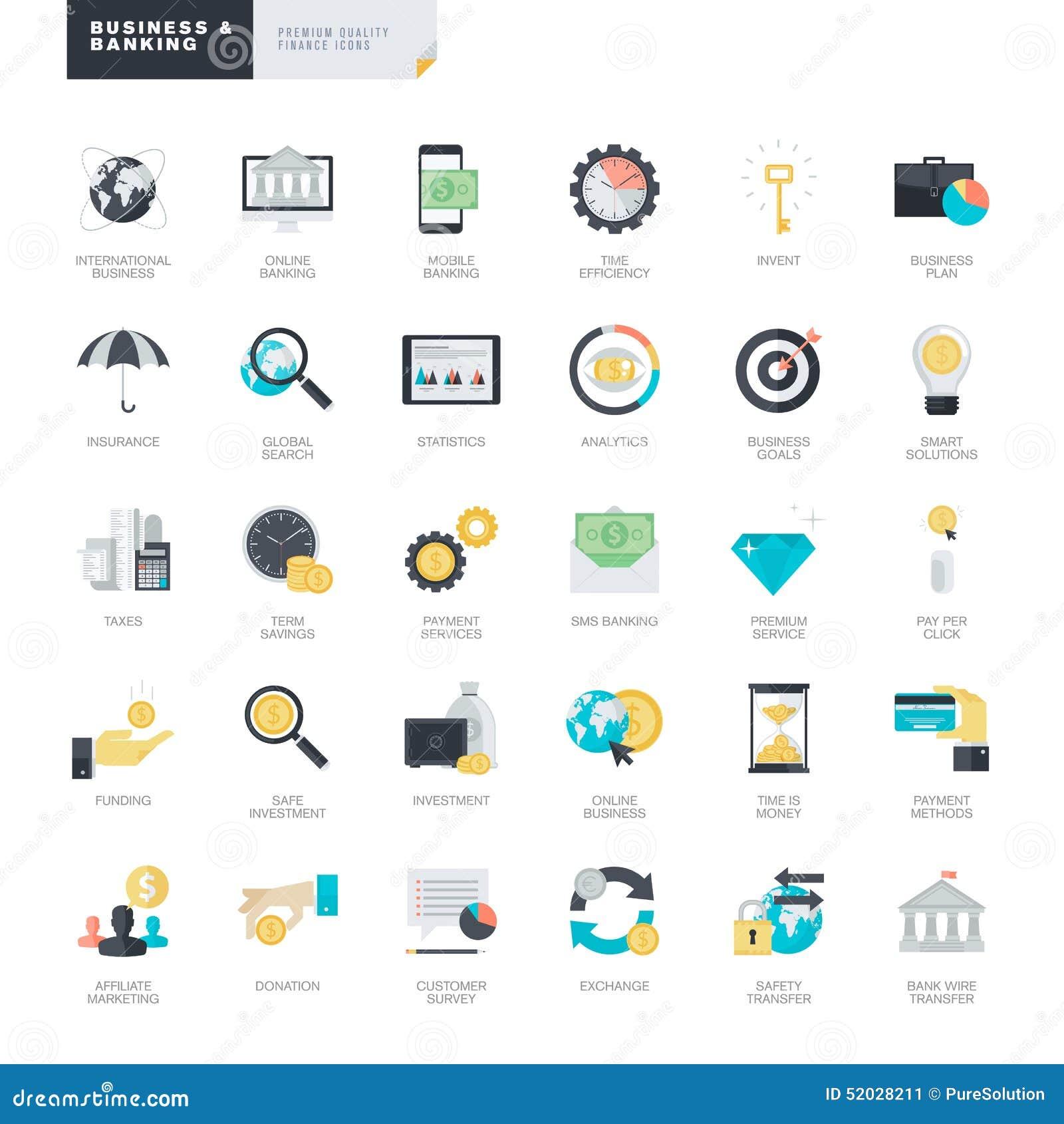 Iconos planos del negocio y de las actividades bancarias del diseño para el gráfico y los diseñadores web