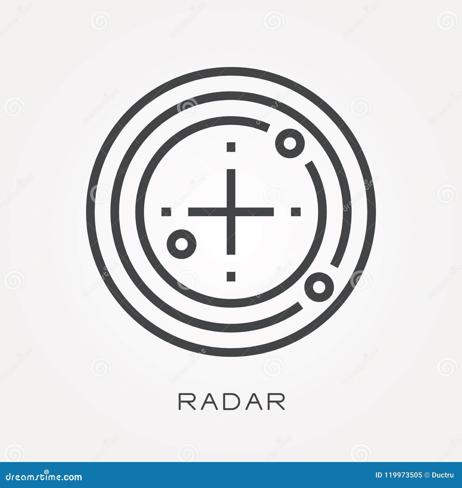 Iconos planos del vector con el radar