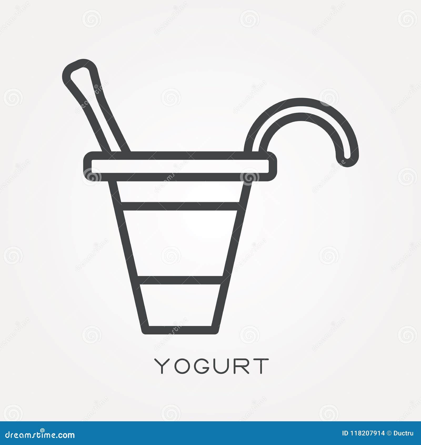 Iconos planos del vector con el yogur