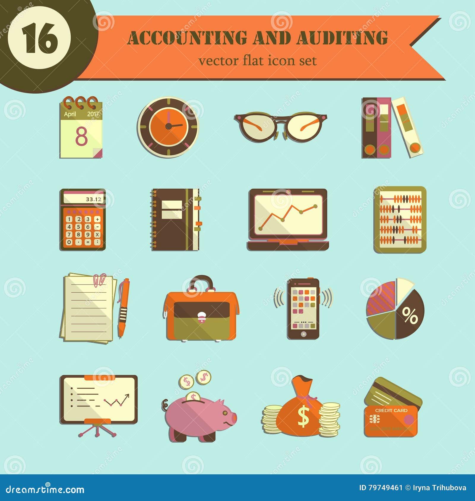 Iconos planos del vector de la contabilidad