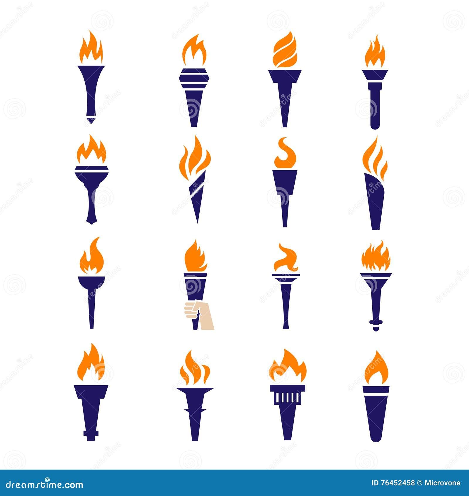 Iconos planos del vector del fuego de la antorcha de la victoria de la llama olímpica del campeonato fijados