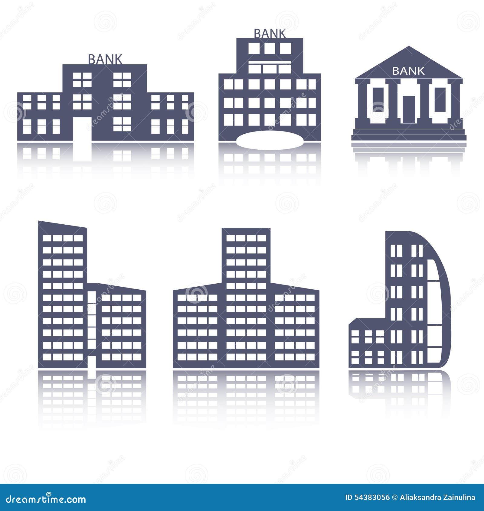 Iconos planos del web del dise o de los edificios fijados for Diseno de edificios