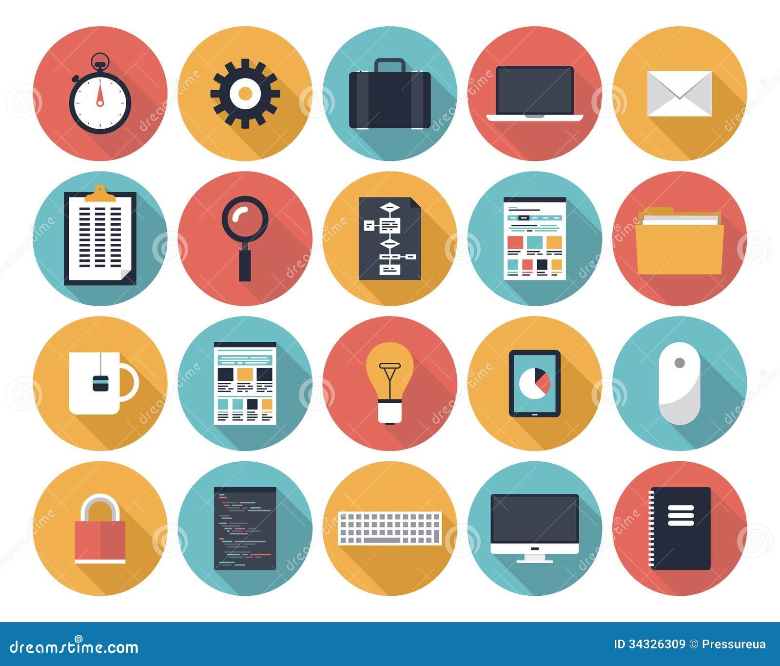 Iconos Planos Del Web Fijados Ilustraci 243 N Del Vector