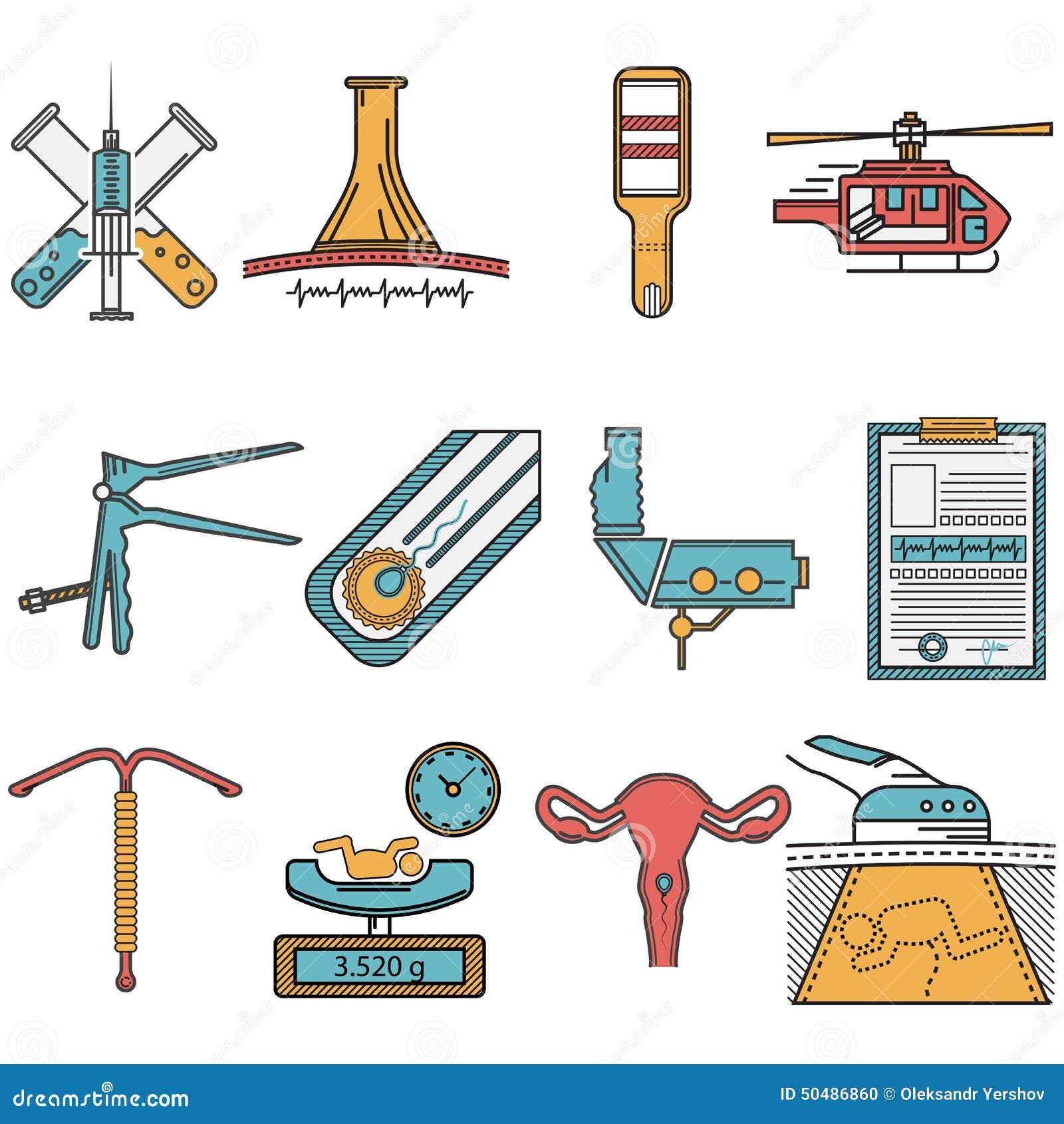 Iconos Planos Fijados Para La Obstetricia Foto de archivo - Imagen ...