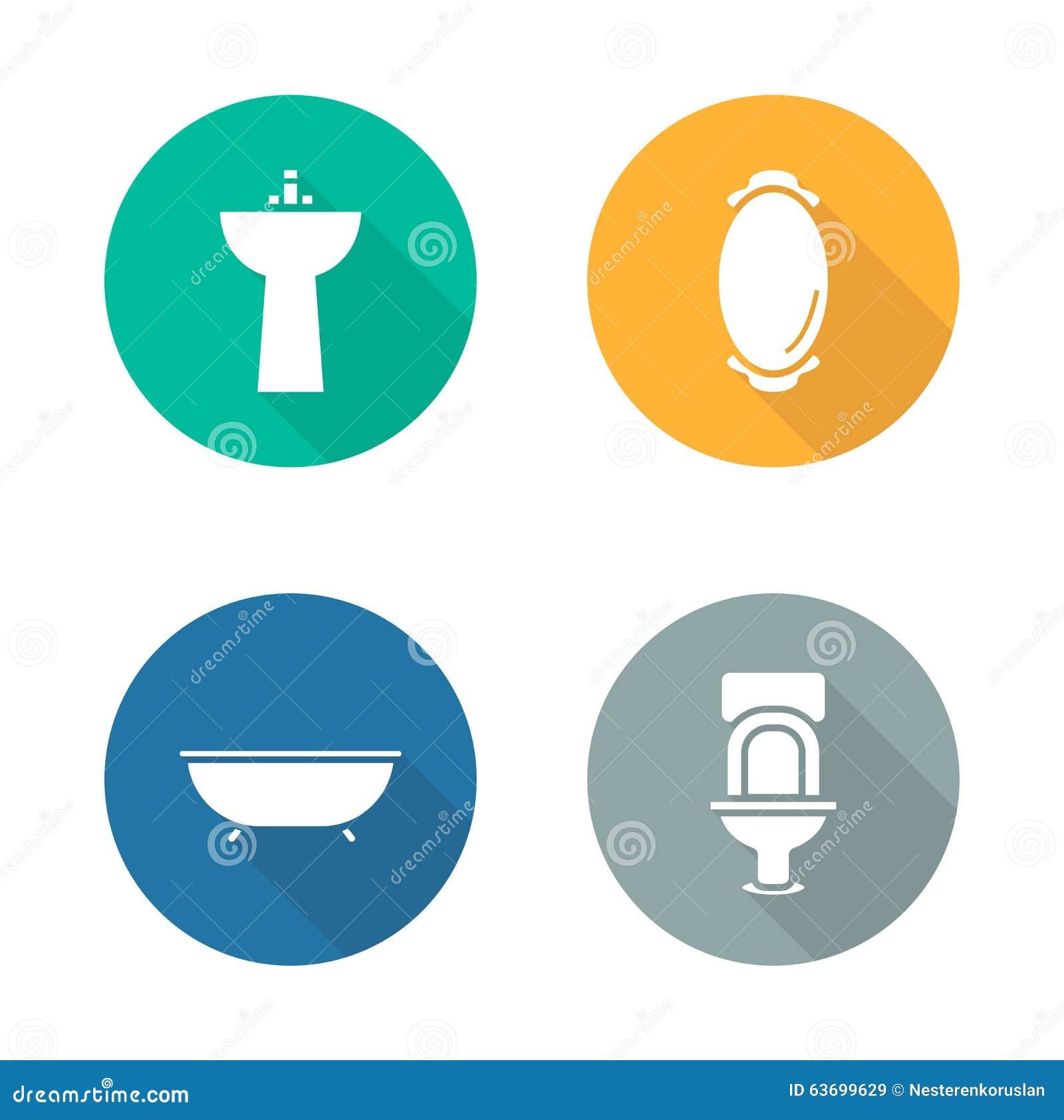 iconos planos interiores del diseño del cuarto de baño fijados