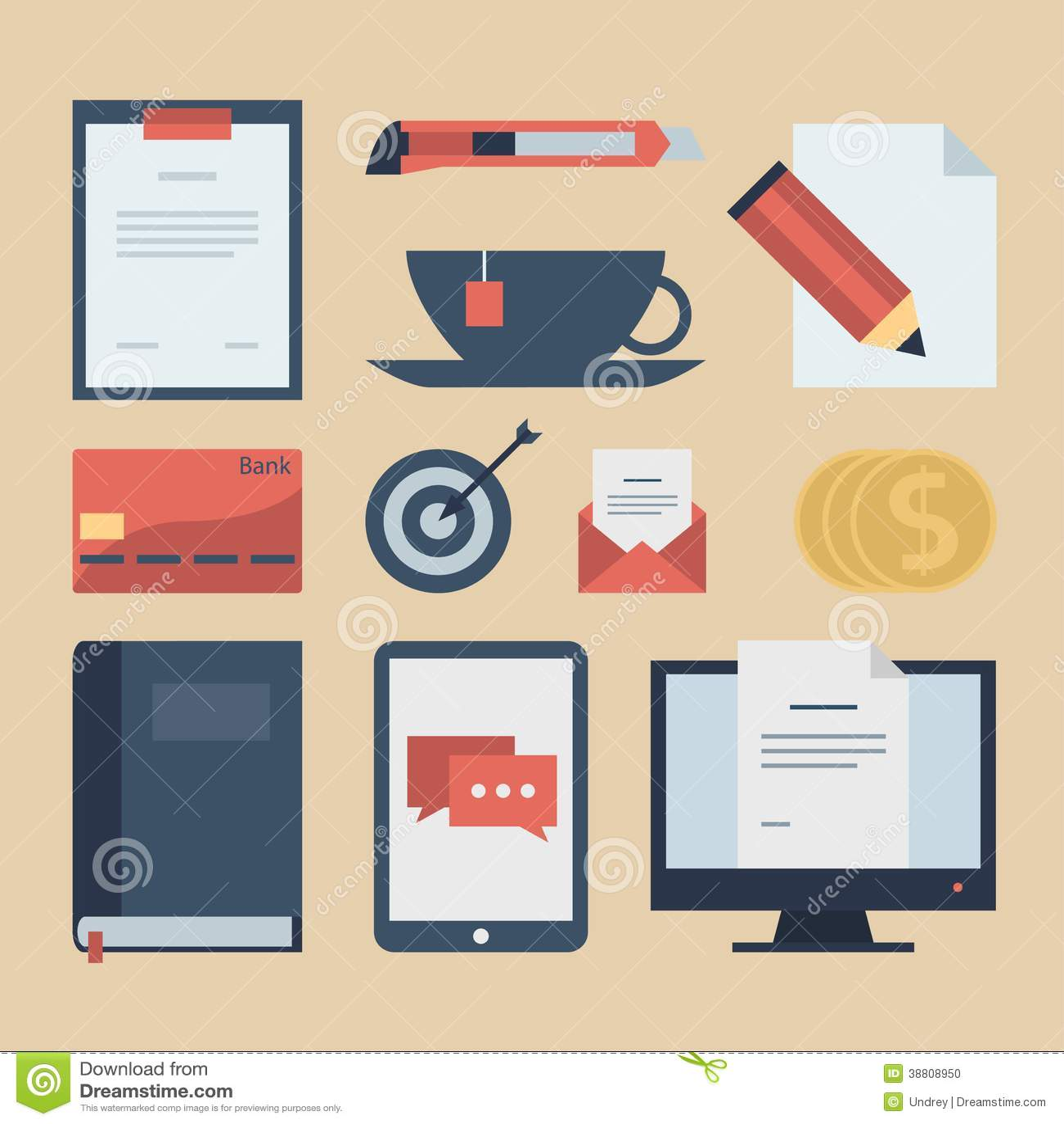Iconos planos modernos colección, objetos del diseño web, negocio, finanzas, oficina y artículos del márketing
